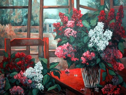 Bouquet of Lilacs by the Open Window
