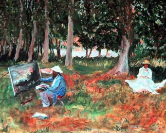 Monet painting in the Woods