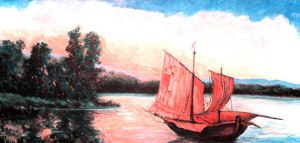 Tranquility Resting Chinese Sailboat