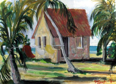 Watercolor painting of a shelter on Boca Chita Key