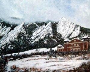 Painting of Chautauqua Auditorium Winter Landscape