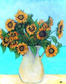 White Pitcher of Sunflowers