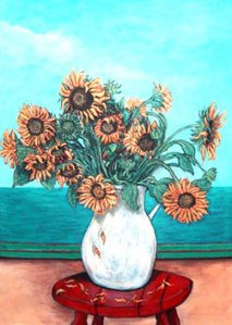 Sun Flowers on the Red Stool
