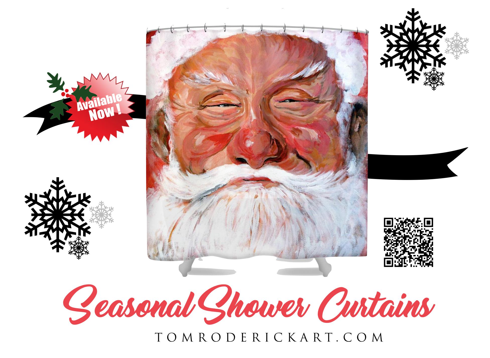Santa Clause Shower Curtain Tom Roderick Art.png