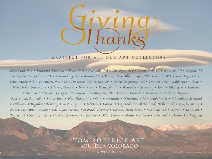 Giving Thanks to All our Collectors at Tom Roderick Art