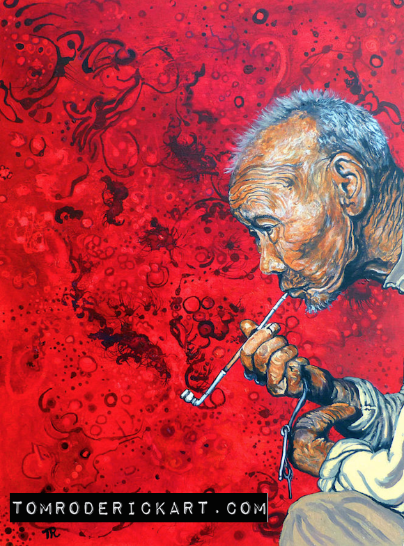 Asian man smoking Opium pipe