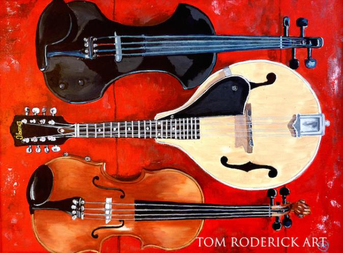 Portrait of an electric violin, mandolin, violin