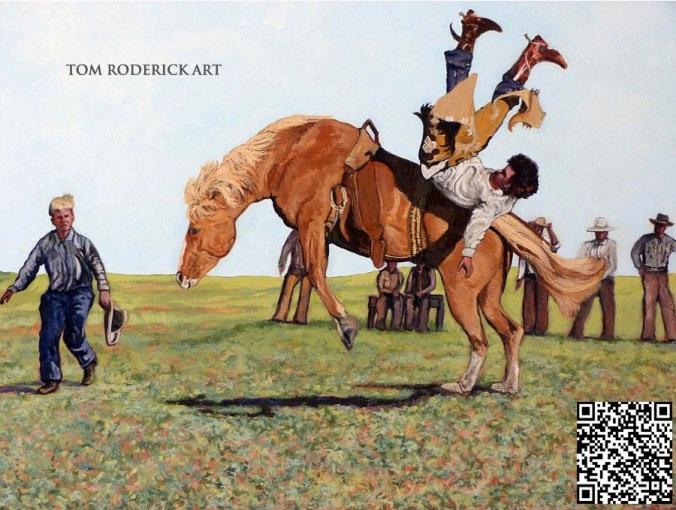 Bucking Bronco tossing cowboy.