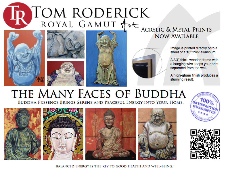 The Many Faces of Buddha by Boulder portrait artist Tom Roderick.
