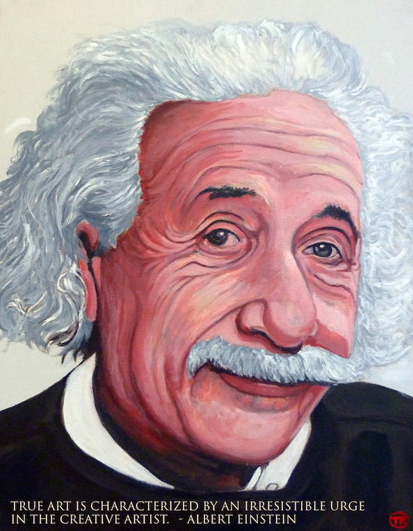 Portrait of Albert Einstein by Boulder portrait artist Tom Roderick
