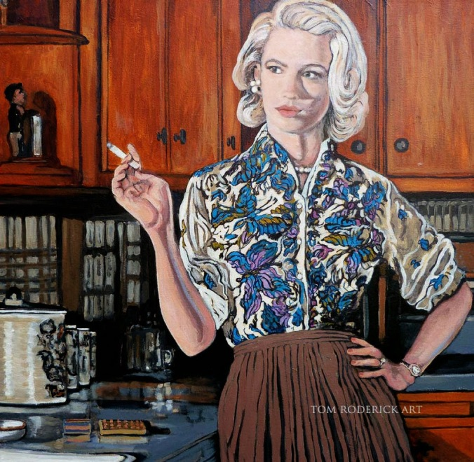 Painting of Betty Draper smoking a cigarette by Boulder artist Tom Roderick