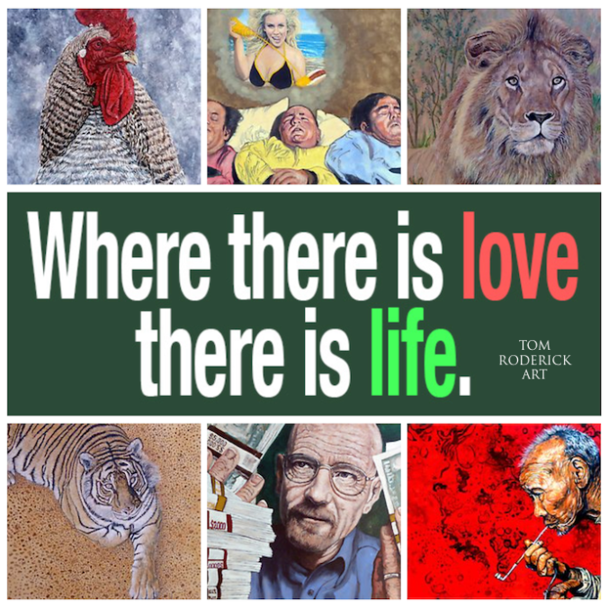 Where there is love there is life. Photo collage of portraits by Boulder artist Tom Roderick.