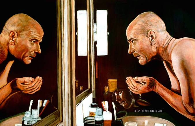 Portrait of Walter White looking at his reflection in the mirror