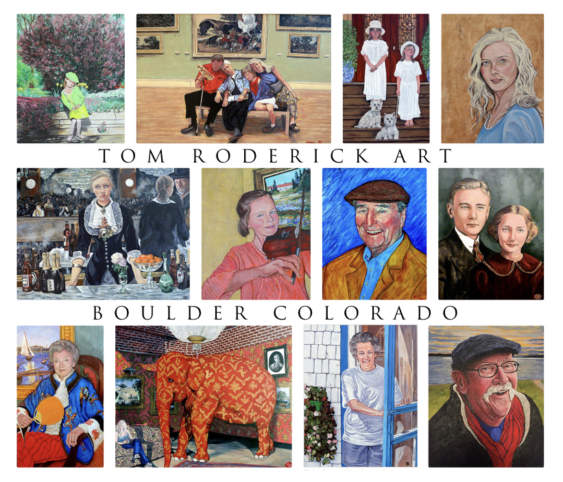 Collage of portraits by Boulder portrait artist Tom Roderick