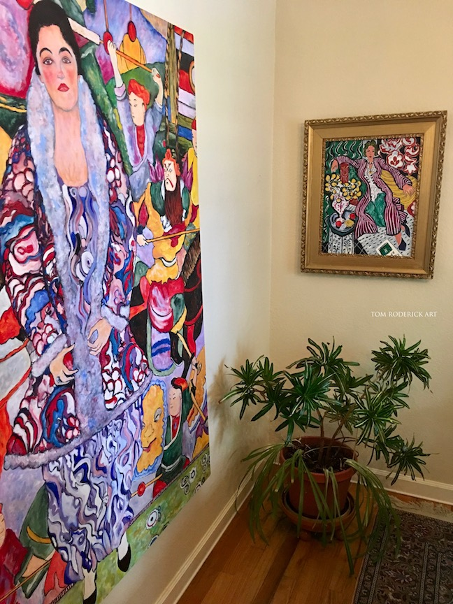 Klimt and Matisse portrait by Boulder artist Tom Roderick.