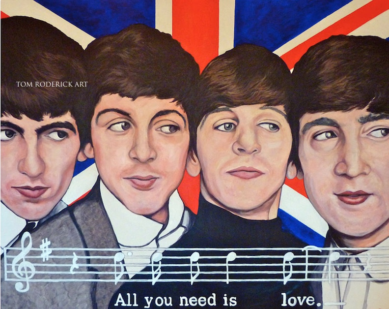 All You Need is Love portrait of Beatles by Boulder portrait artist Tom Roderick.