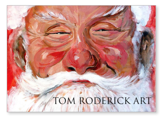 Santa Greeting card by Boulder portrait artist Tom Roderick.