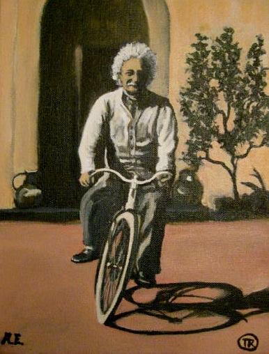 Portrait of Albert Enstein riding a bike by Boulder portrait artist Tom Roderick.