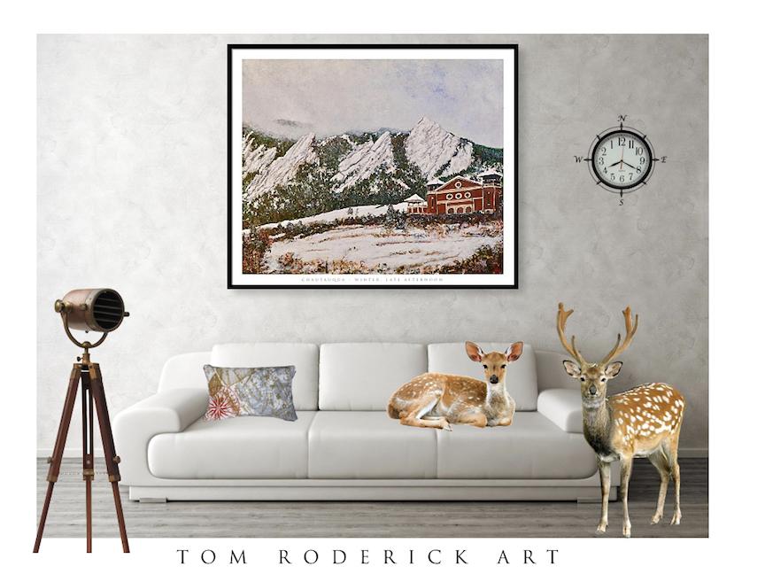 Chautauqua Hall Winter Late Afternoon by Boulder artist Tom Roderick.