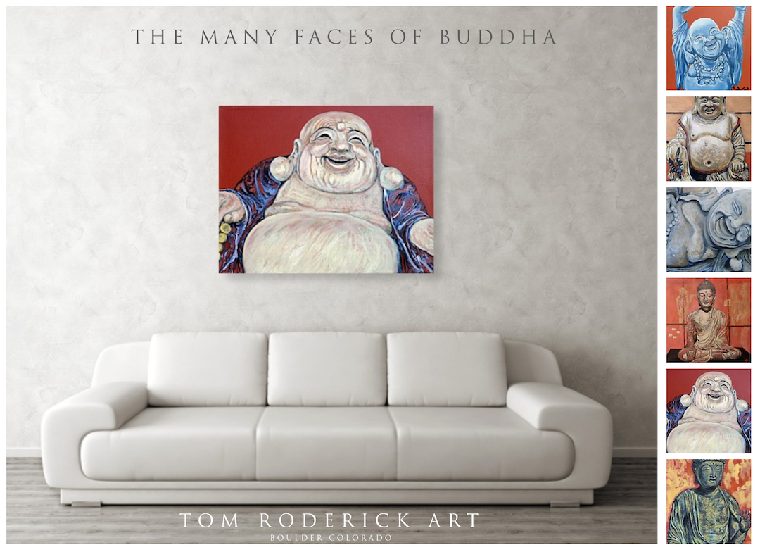 The many faces of buddha wall art by boulder artist Tom Roderick.