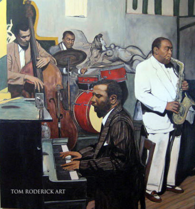 Portrait of Monk, Parker, Mingus, and Hayes jamming by Boulder portrait artist Tom Roderick.