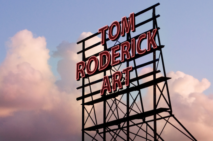 Tom Roderick Art sign in the clouds promo.