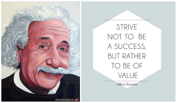 Portrait of Albert Einstein by Boulder portrait artist Tom Roderick.
