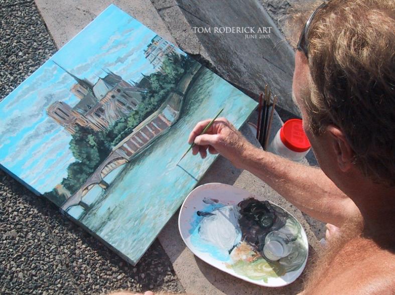 June 2005 Boulder artist Tom Roderick painting Notre Dame