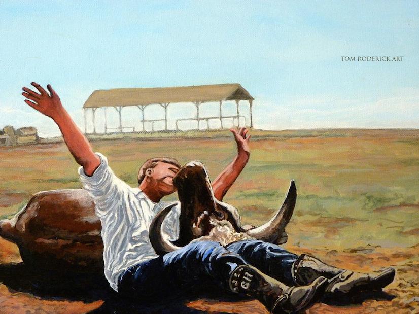 Bucky gets the bull. RIP Bucky