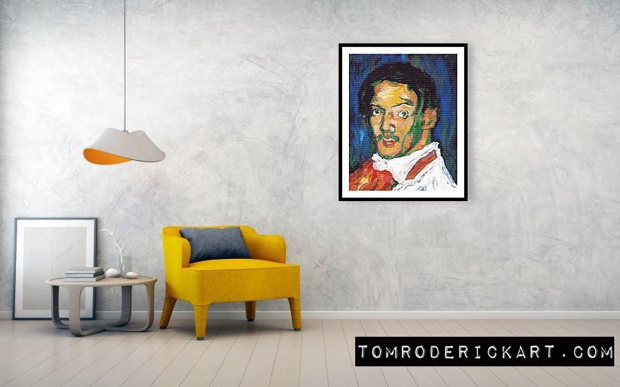 Framed print of a Portrait of Pablo Picasso by Boulder portrait artist Tom Roderick.