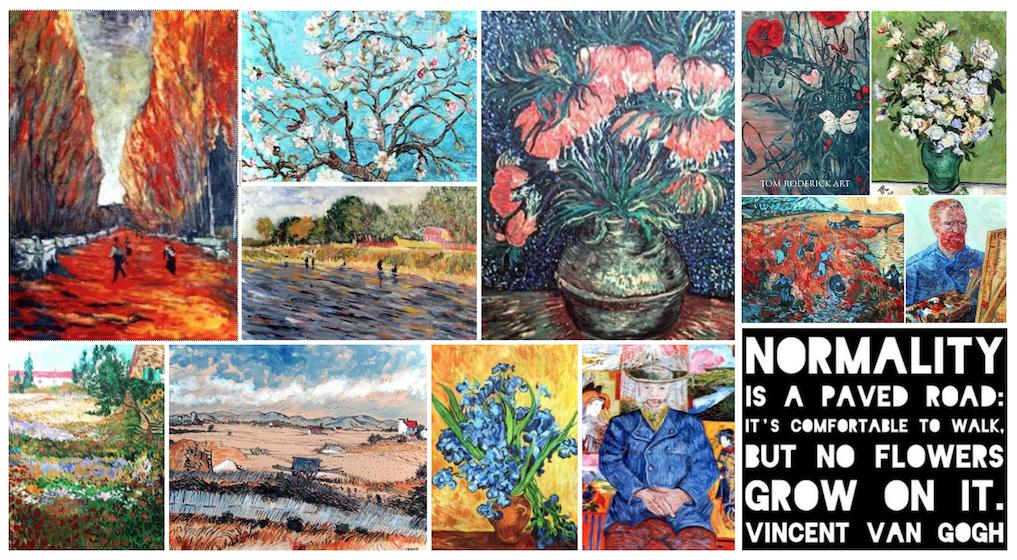Artist interpretation of Vincent Van Gogh by Boulder artist Tom Roderick.