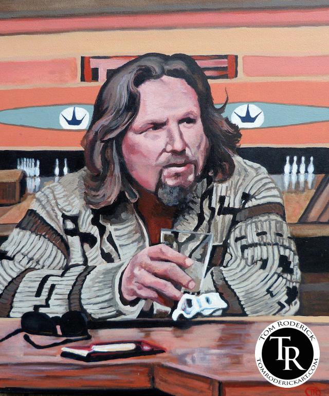 Jeffery Lebowski, The Dude portrait by Boulder artist Tom Roderick.