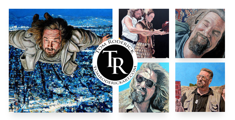 Tribute is a collection of portraits of The Dude, Walter, and Donny by Boulder portrait artist Tom Roderick.