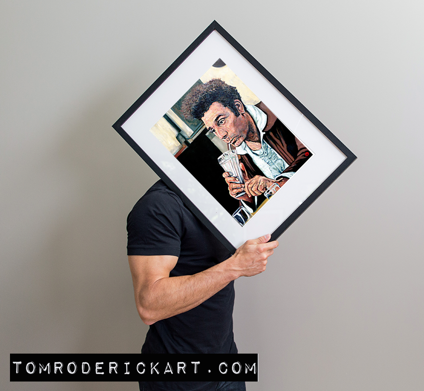 Portrait of Kramer Drinking a milkshake by Boulder portrait artist Tom Roderick.