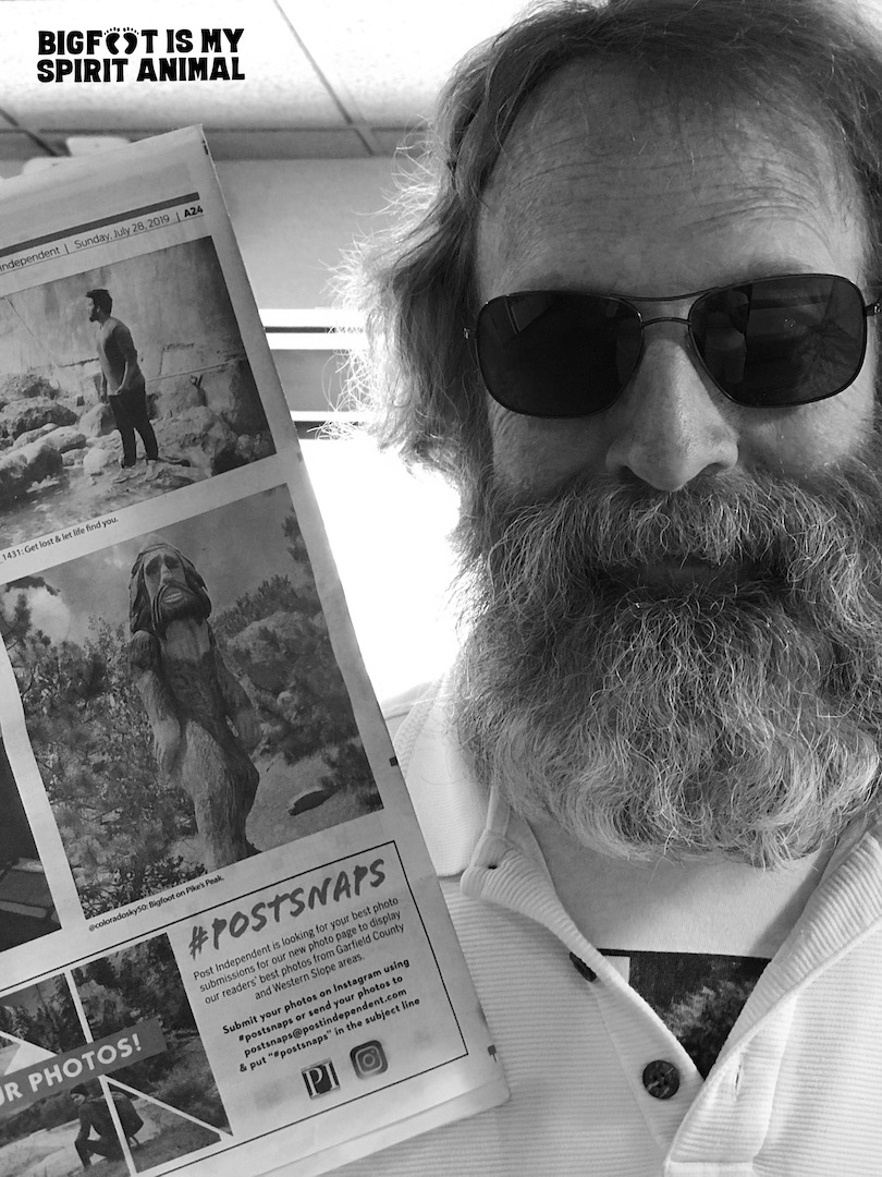 Newspaper with photo of TR with Bigfoot spotted on Pike's Peak.