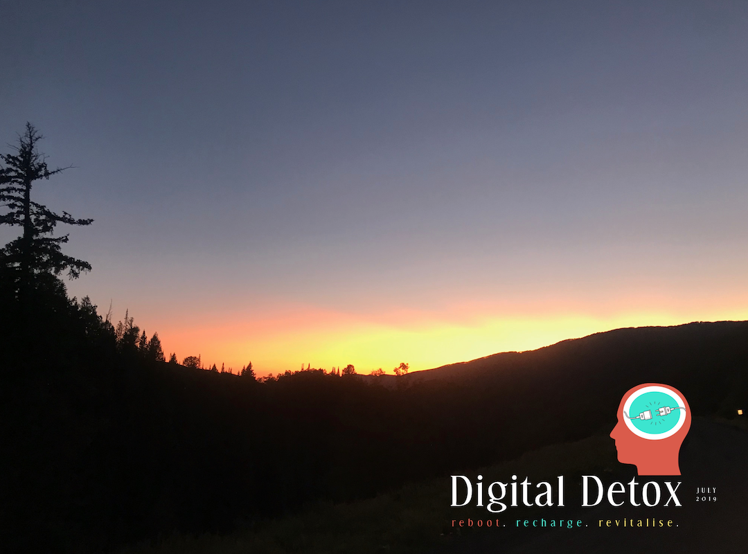 Digital detox mountain sunset.