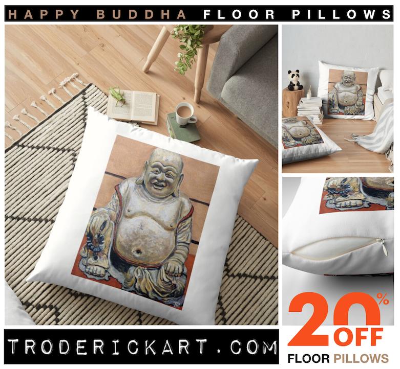 Happy Buddha Floor Pillow by Boulder artist Tom Roderick.