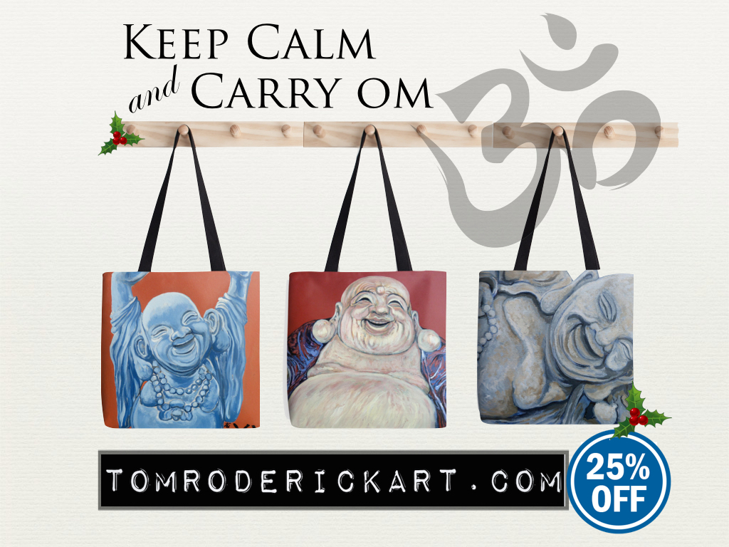 Keep Calm and Carry Om Holiday Tote Promo TomRoderick Art