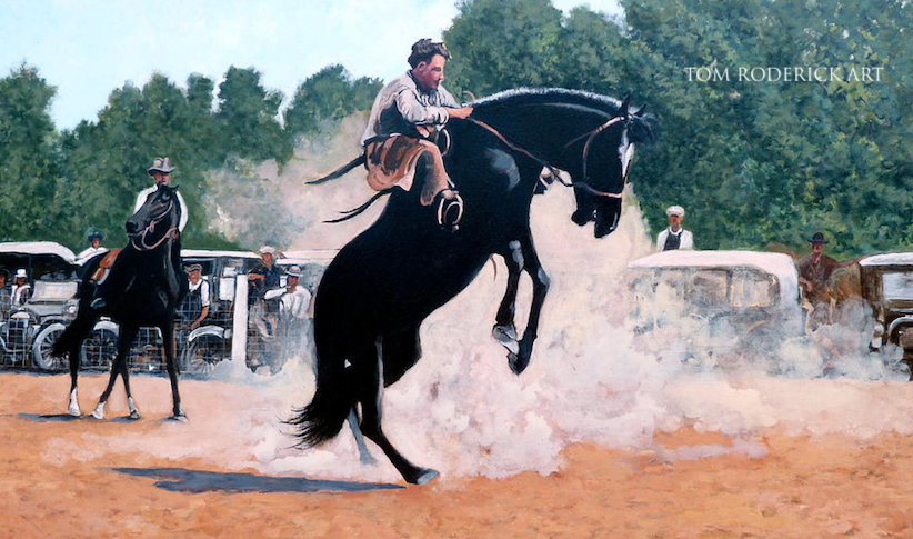 Whoa Nelly rodeo painting by Boulder artist Tom Roderick.