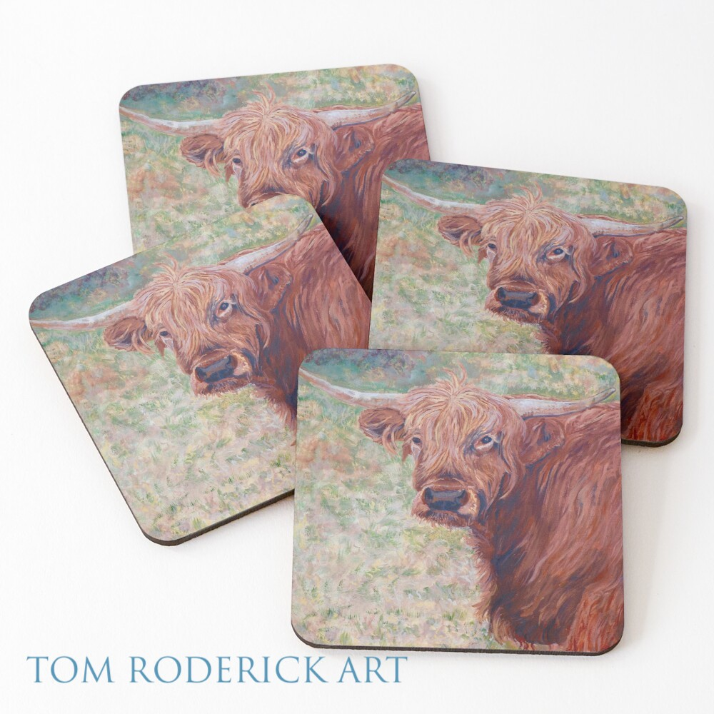 Coasters of Wink the Highland Cow by Boulder artist Tom Roderick.