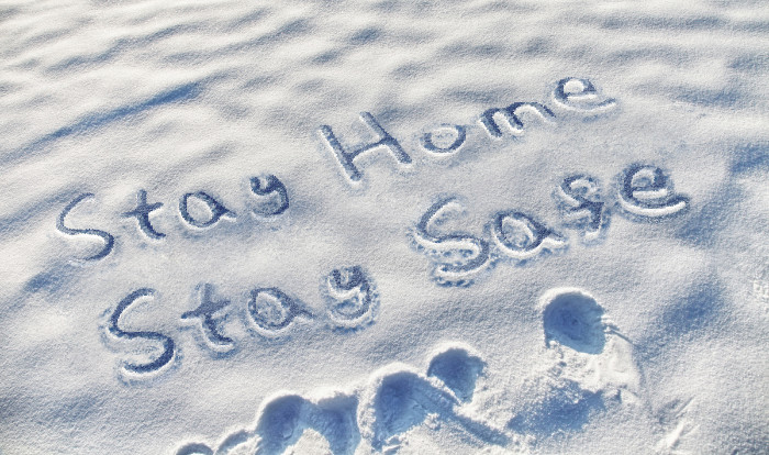 Stay Home Stay Safe Snow Writing Springtime in the rockies