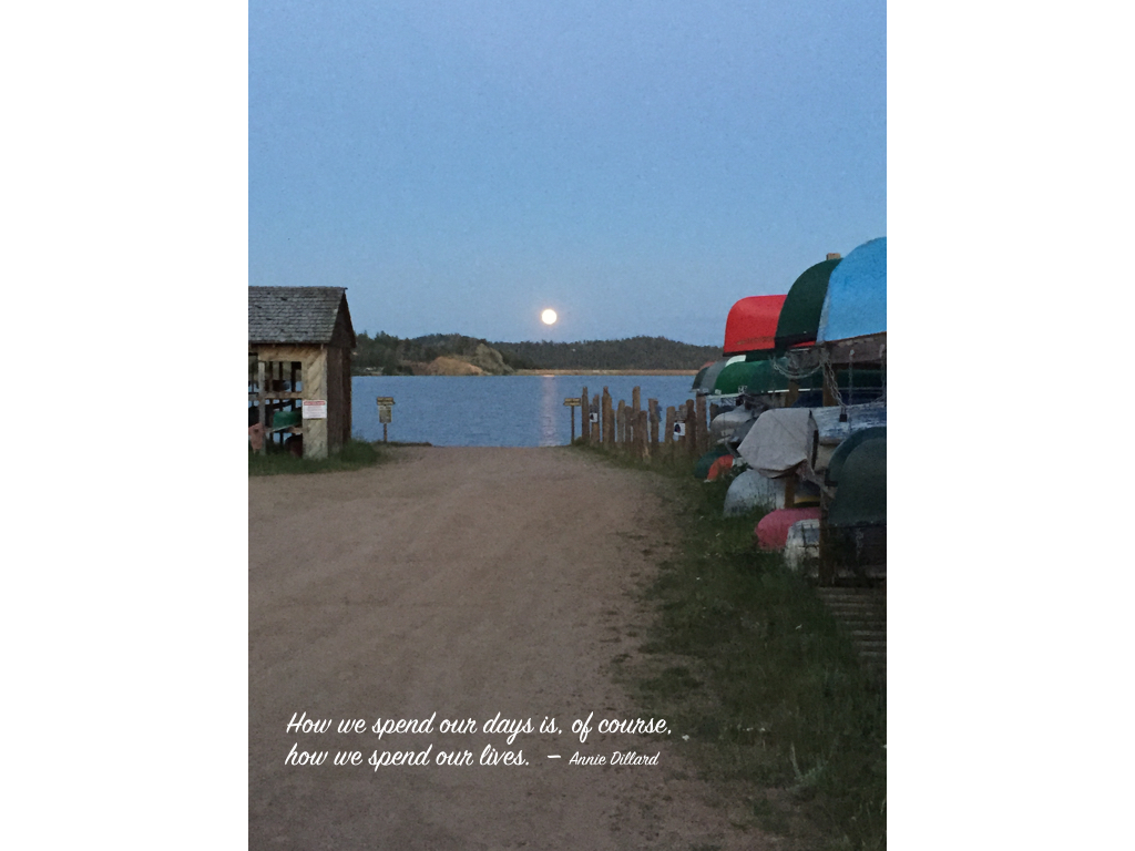 photo of crystal lake with an ann dillard quote