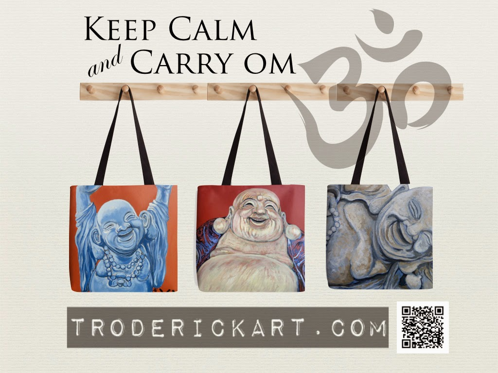 Keep calm and carry om tote bags by Tom Roderick Art