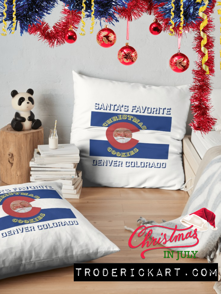 Santa's Favorite Christmas Cookies throw pillows by Boulder artist Tom Roderick.
