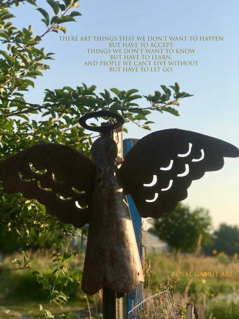 garden angel with letting go quote