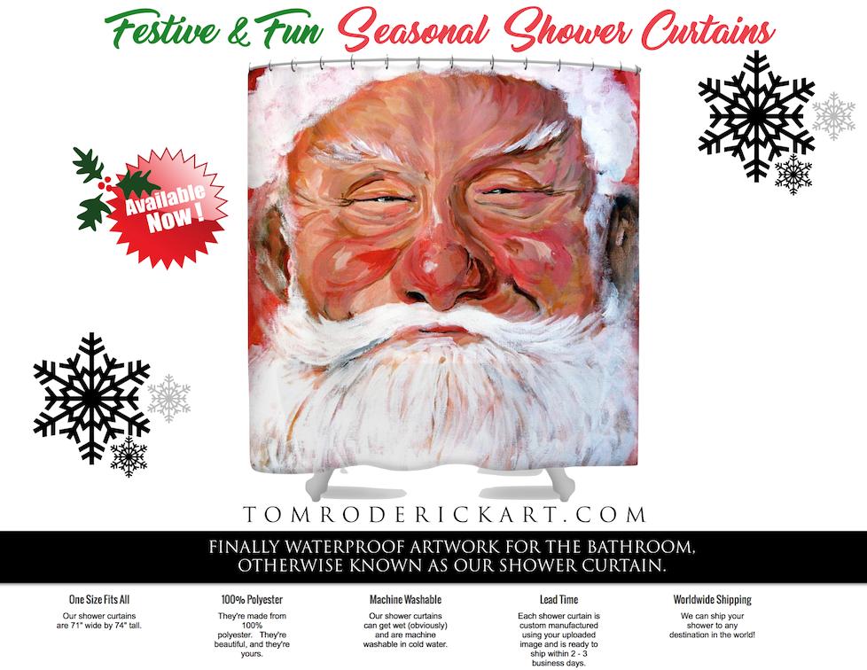 Santa Shower curtain by Boulder portrait artist Tom Roderick.