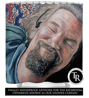 Shower curtain of The Dude by Boulder portrait artist Tom Roderick