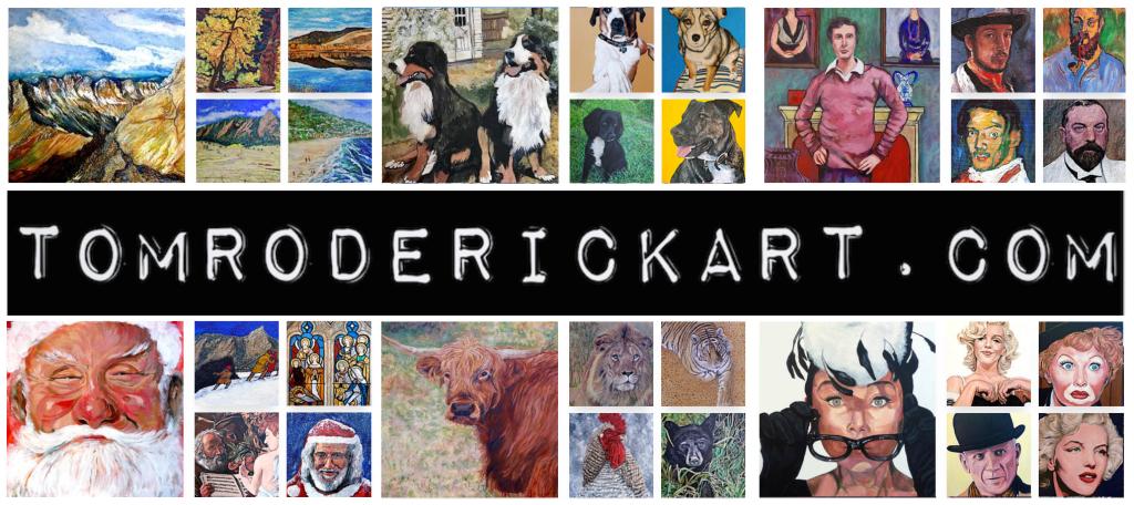 Collage of art work by Boulder portrait artist Tom Roderick.